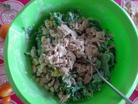 Sałatka z tuńczykiem, makaronem i jarmużem